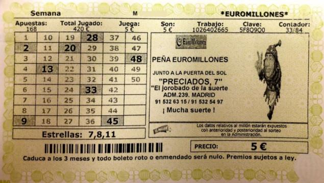 Décimo Euromillones del sorteo Euromillones