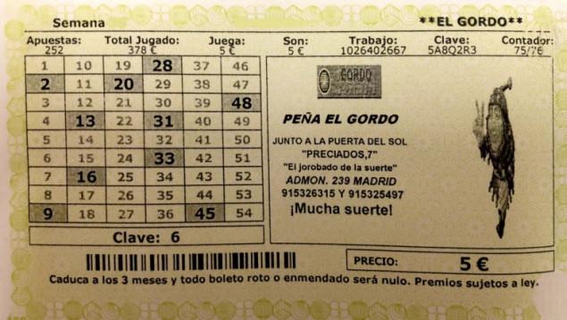 Décimo El Gordo del sorteo El Gordo