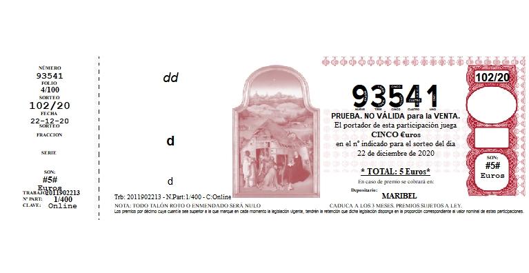 Décimo Lotería Nacional del sorteo Lotería Nacional