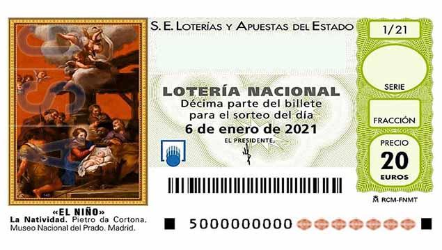 Décimo 01385 del sorteo 1-06/01/2021 El Niño