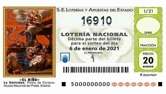 Décimo 16910 del sorteo 1-06/01/2021 El Niño