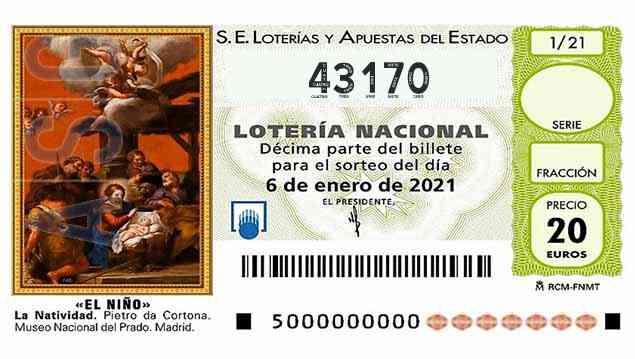 Décimo 43170 del sorteo 1-06/01/2021 El Niño