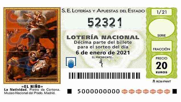 Décimo 52321 del sorteo 1-06/01/2021 El Niño