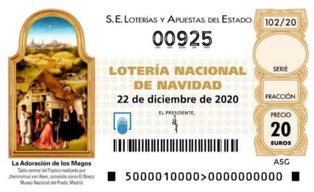 Décimo 00925 del sorteo 102-22/12/2020 Navidad