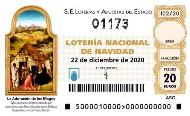 Décimo 01173 del sorteo 102-22/12/2020 Navidad