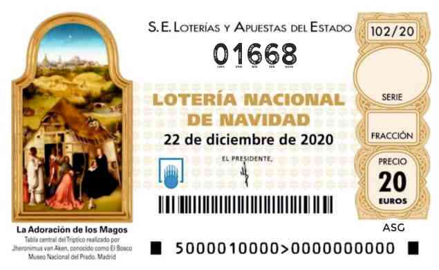 Décimo 01668 del sorteo 102-22/12/2020 Navidad