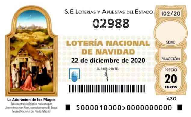 Décimo 02988 del sorteo 102-22/12/2020 Navidad