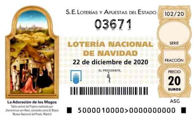 Décimo 03671 del sorteo 102-22/12/2020 Navidad