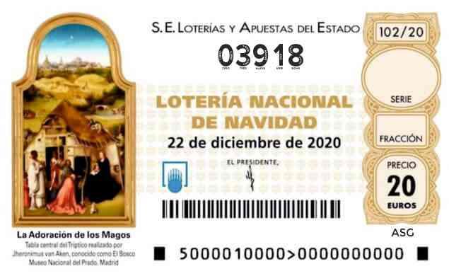 Décimo 03918 del sorteo 102-22/12/2020 Navidad