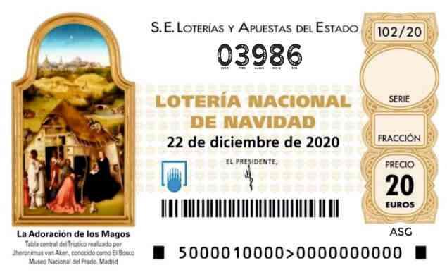 Décimo 03986 del sorteo 102-22/12/2020 Navidad