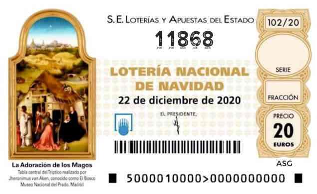 Décimo 11868 del sorteo 102-22/12/2020 Navidad