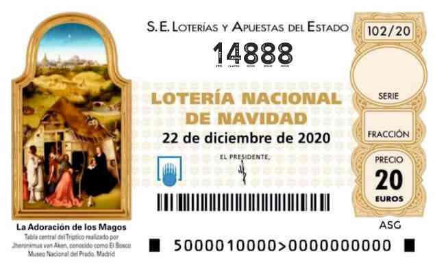 Décimo 14888 del sorteo 102-22/12/2020 Navidad