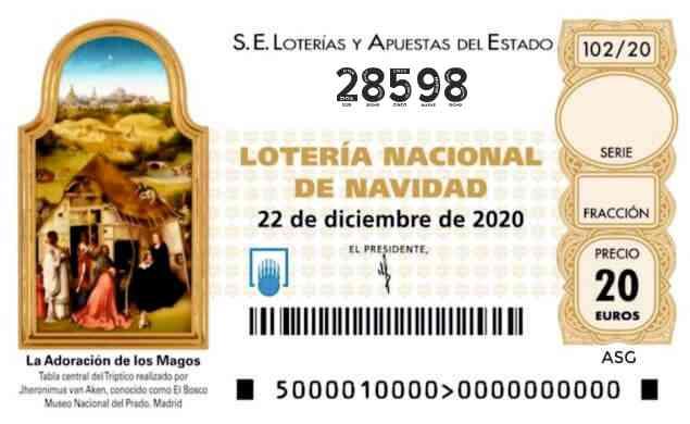 Décimo 28598 del sorteo 102-22/12/2020 Navidad