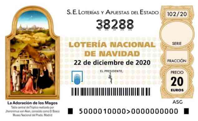 Décimo 38288 del sorteo 102-22/12/2020 Navidad