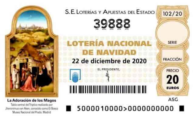 Décimo 39888 del sorteo 102-22/12/2020 Navidad