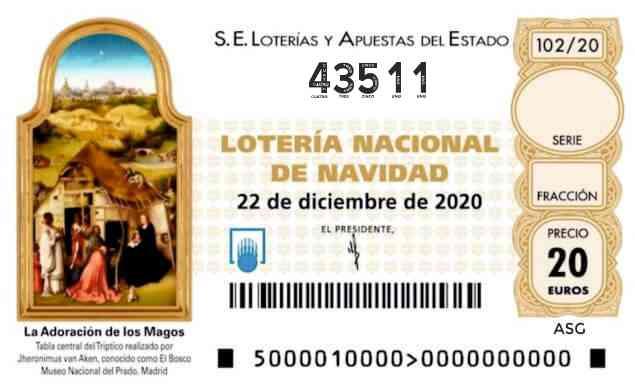 Décimo 43511 del sorteo 102-22/12/2020 Navidad