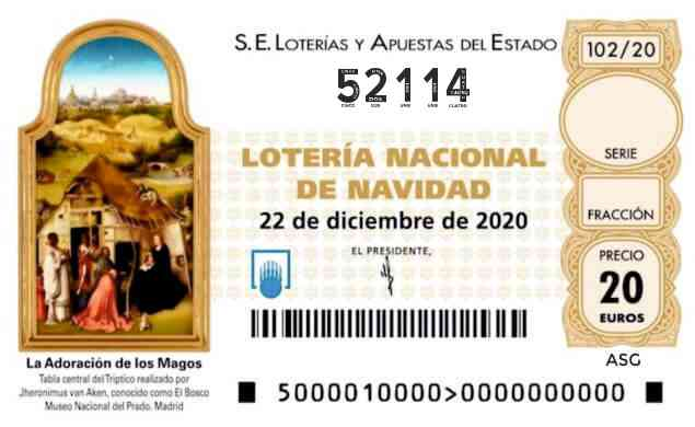 Décimo 52114 del sorteo 102-22/12/2020 Navidad