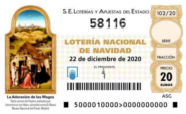 Décimo 58116 del sorteo 102-22/12/2020 Navidad