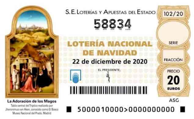 Décimo 58834 del sorteo 102-22/12/2020 Navidad