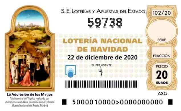 Décimo 59738 del sorteo 102-22/12/2020 Navidad