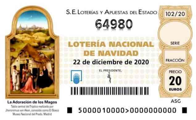 Décimo 64980 del sorteo 102-22/12/2020 Navidad