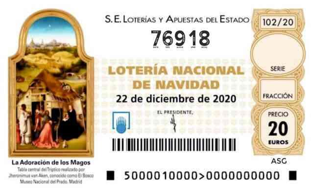 Décimo 76918 del sorteo 102-22/12/2020 Navidad