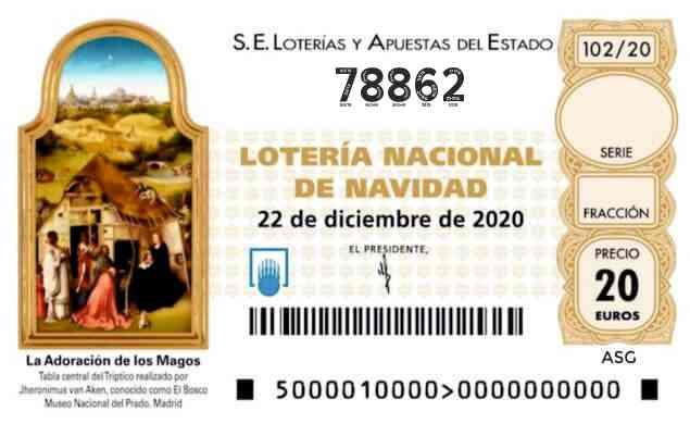 Décimo 78862 del sorteo 102-22/12/2020 Navidad