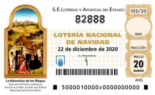 Décimo 82888 del sorteo 102-22/12/2020 Navidad