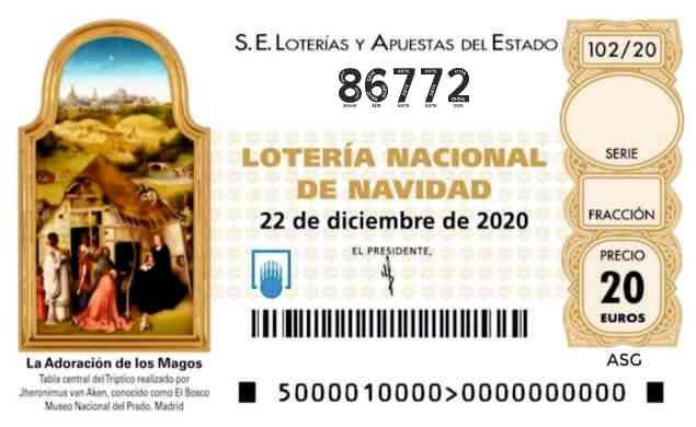 Décimo 86772 del sorteo 102-22/12/2020 Navidad