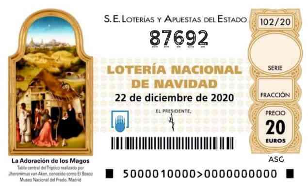 Décimo 87692 del sorteo 102-22/12/2020 Navidad
