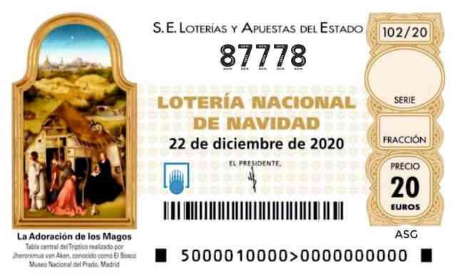 Décimo 87778 del sorteo 102-22/12/2020 Navidad