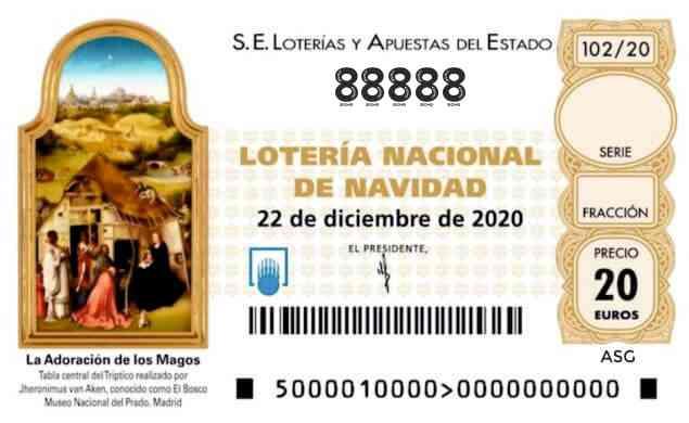Décimo 88888 del sorteo 102-22/12/2020 Navidad