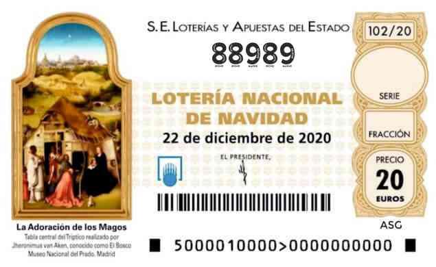 Décimo 88989 del sorteo 102-22/12/2020 Navidad