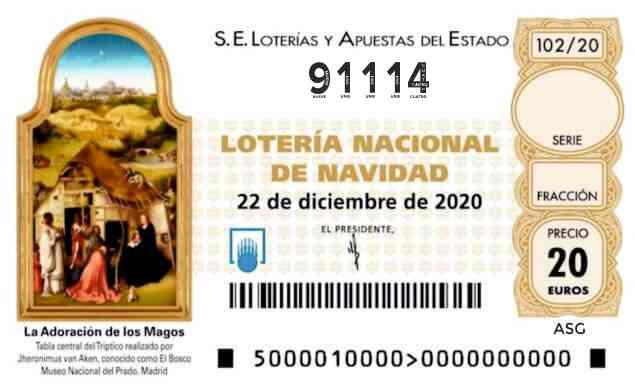Décimo 91114 del sorteo 102-22/12/2020 Navidad