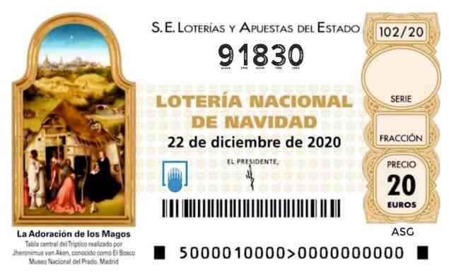 Décimo 91830 del sorteo 102-22/12/2020 Navidad