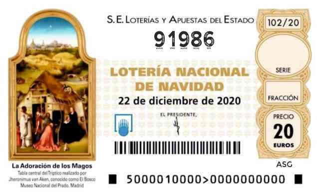 Décimo 91986 del sorteo 102-22/12/2020 Navidad