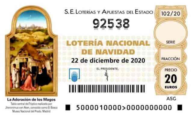 Décimo 92538 del sorteo 102-22/12/2020 Navidad