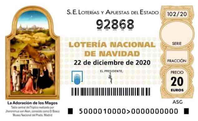Décimo 92868 del sorteo 102-22/12/2020 Navidad