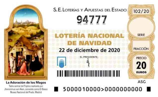 Décimo 94777 del sorteo 102-22/12/2020 Navidad