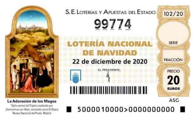 Décimo 99774 del sorteo 102-22/12/2020 Navidad