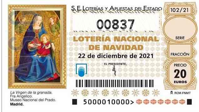Décimo 00837 del sorteo 102-22/12/2021 Navidad