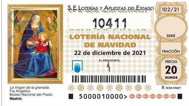 Décimo 10411 del sorteo 102-22/12/2021 Navidad