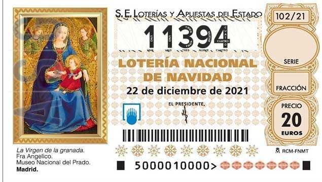 Décimo 11394 del sorteo 102-22/12/2021 Navidad