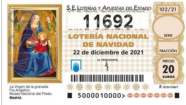 Décimo 11692 del sorteo 102-22/12/2021 Navidad