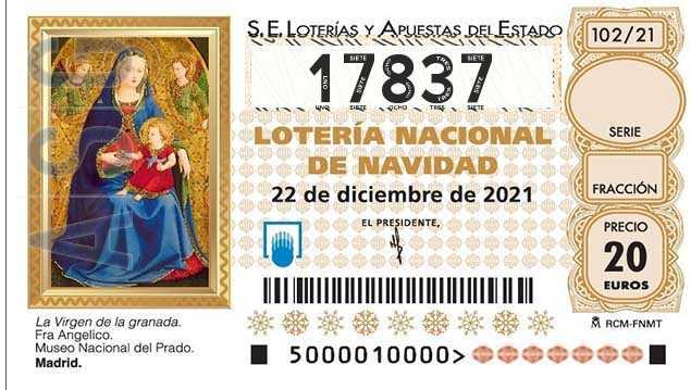 Décimo 17837 del sorteo 102-22/12/2021 Navidad