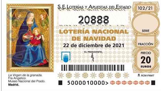 Décimo 20888 del sorteo 102-22/12/2021 Navidad