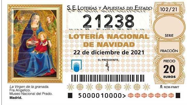 Décimo 21238 del sorteo 102-22/12/2021 Navidad