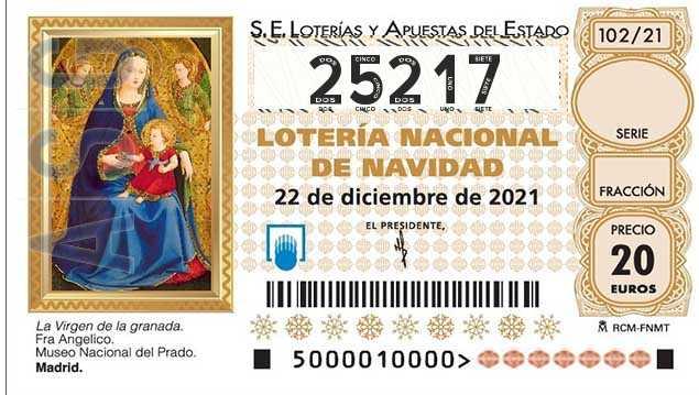 Décimo 25217 del sorteo 102-22/12/2021 Navidad