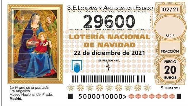 Décimo 29600 del sorteo 102-22/12/2021 Navidad