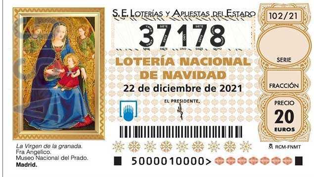 Décimo 37178 del sorteo 102-22/12/2021 Navidad